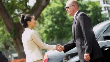 Limousine driver meeting ethnic company executives — Stock Video