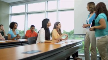Students with lecturer listening to presentation — Stock Video