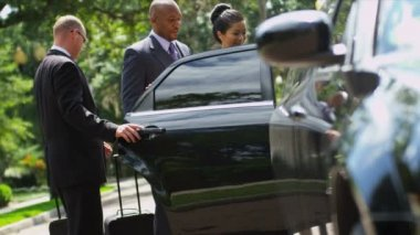 Business consultants getting into limousine — Stock Video