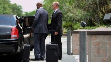 Affärskonsulter som får in limousine — Stockvideo