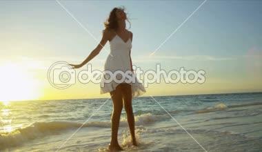 Latin American Girl at Sunrise Enjoying Island Vacation — Stock Video