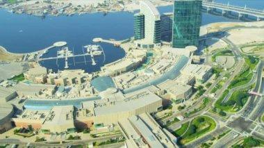 Aerial view Festival City and marina — Vídeo de stock