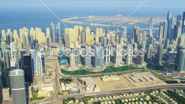 Dubai Marina and Jumeirah Lakes Towers apartments — Stock Video