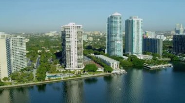 Hotels and condominiums over Biscayne Bay — Stock Video