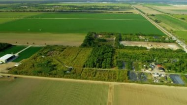 Aerial view agricultural farming land — Video Stock