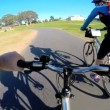 Young couple bicycle riding outdoor — Stock Video #58448929