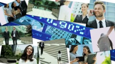 CG video montage multi ethnic business team global technology finance meeting — Stock Video