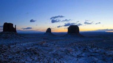 Monument Valley dawn Mittens snow  desert Colorado Plateau, Utah, USA — Stock Video