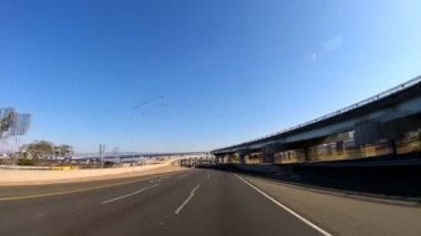 Driving city suburbs elevated highway California — Stock Video