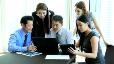 Team Asian Chinese Financial Consultants Conference Room — Stock Video