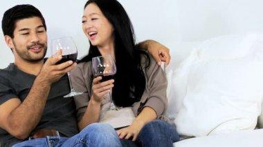 Coppie sul sofà bere vino — Video Stock
