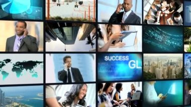 3D montage African American business communication touch screen motion graphics — Stock Video