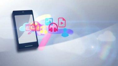 Multimedia communication motion graphic icon app stream uploading wireless — Stock Video