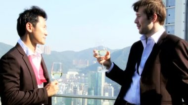 Friends drinking cocktails on rooftop — Wideo stockowe