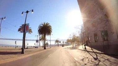 Driving on Embarcadero Wharf area — Stockvideo
