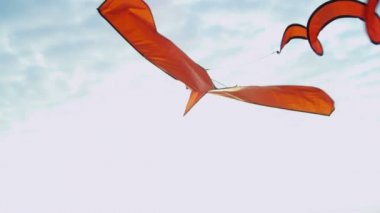 Flying kite with spiraling tail — Stock Video