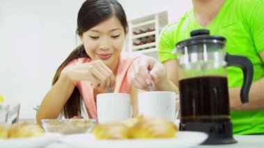 Couple with coffee during breakfast — Stock Video