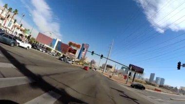 Road driving downtown Las Vegas — Stock Video