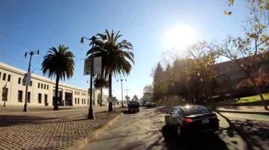 Driving on Embarcadero Wharf area — Stock Video