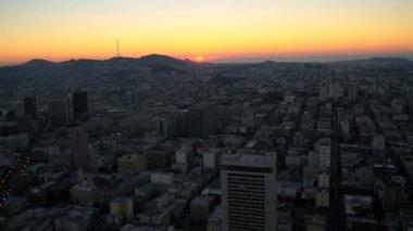 San Francisco city suburbs at sunset — Stock Video