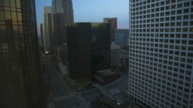 Los Angeles sunrise commuter traffic Skyscrapers California, USA — Vídeo de Stock