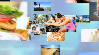 3D montage fly through Multi ethnic male and female together at vacation — Stock Video