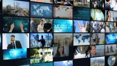 3D montage wall multi ethnic business meetings communication touch screen — Stock Video