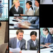 3D video montage Asian Caucasian business office team touch screen — Stock Video #58453549