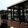 Tourist sightseeing passenger road train — Stock Video #58458235
