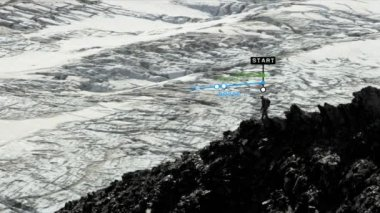Climber Hiking Rocky Terrain — Stock Video
