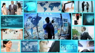 CG video montage Multi ethnic business internet multimedia app motion graphics — Stock Video