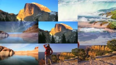 CG wall montage American National Parks travel vacation canyon lifestyle — Stock Video