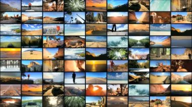 3D montage wall USA tourism destinations cities driving outdoor lifestyle — Stock Video