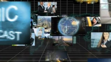 3D montage fly through ethnic business managers communication — Stock Video