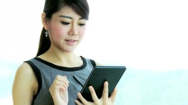 Financial consultant using wireless tablet — Stock Video