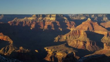 Grand Canyon National Park Plateau panning sunrise shadow winter, Arizona, USA — Stock Video