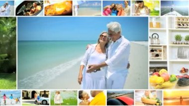 CG montage African American Caucasian family vacation beach food lifestyle USA — Stock Video