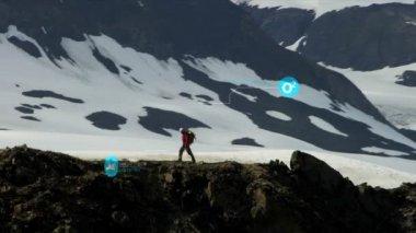 Peak Climber Walking Rocky Ridge — Stock Video