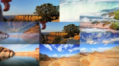 3D wall montage USA National Parks tourist vacation canyon mountain lifestyle — Stock Video