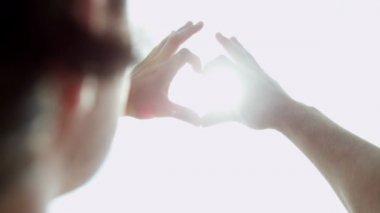 Man making heart shape symbol — Stock Video