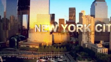 CG video montage aerial view area Manhattan USA motion graphics — Stock Video
