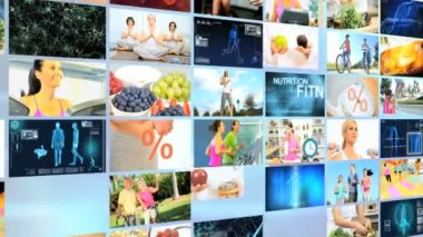 3D wall montage Multi ethnic healthy nutrition physical lifestyle motion graphics — Stock Video