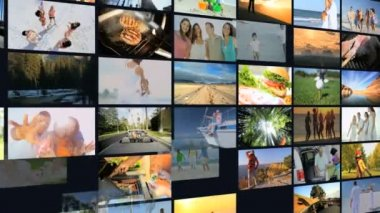 3D wall montage Multi ethnic healthy family at vacation — Stock Video