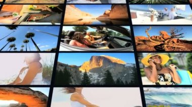 3D montage of multi ethnic American people outdoor holiday lifestyle — Stock Video