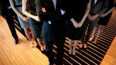 Young ambitious male and  female Asian business colleagues clap with hands — Stock Video