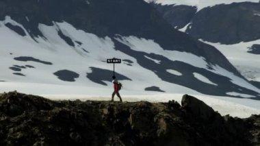 Peak Climber Walking Ridge — Stock Video