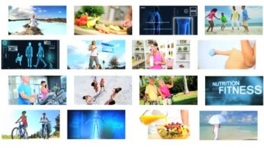 CG wall montage Multi ethnic healthy fitness vacation lifestyle motion graphics — Stock Video