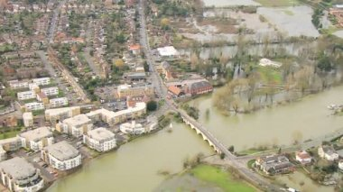 River flooding of towns and land, England, UK — Stock Video