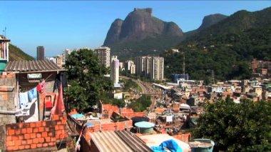 Hillside favela in Urban residential housing poverty Rio de Janeiro — Stock Video