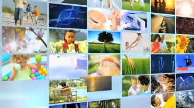3D environmental montage wall Multi ethnic lifestyle happiness nature vacation — Stock Video